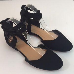 Mossimo Black Faux Suede Ankle Wrap Flats Sz 9.5